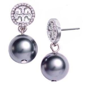 Tory Burch logo pearl drop earrings